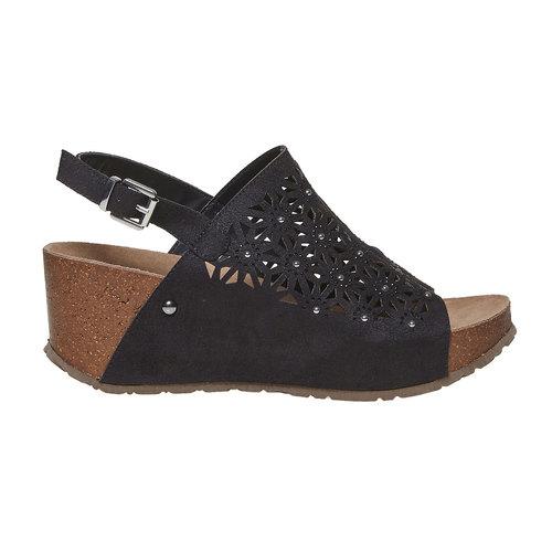 Sandali neri con perforazioni bata, nero, 669-6248 - 15