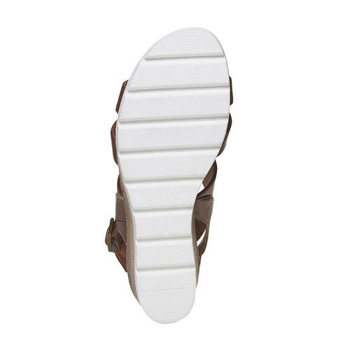 Sandali in pelle con plateau bata, marrone, 764-3585 - 26