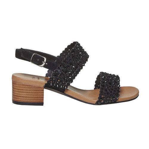 Sandali da donna in pelle con strass bata, nero, 663-6238 - 15