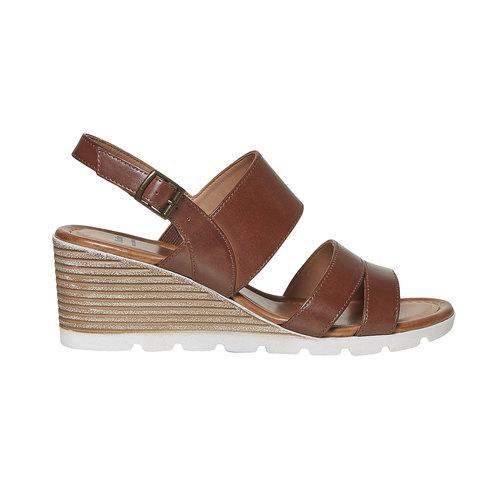 Sandali in pelle con plateau bata, marrone, 764-3585 - 15