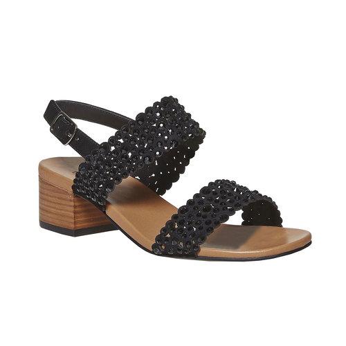 Sandali da donna in pelle con strass bata, nero, 663-6238 - 13