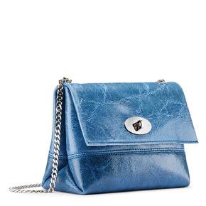 Borsetta in pelle con catena bata, blu, 964-9239 - 13