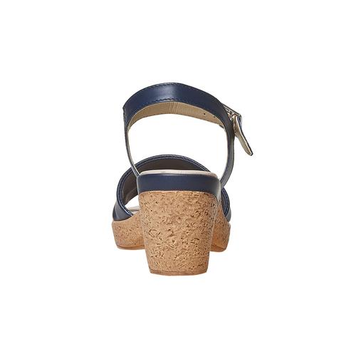 Sandali blu con tacco naturale bata-touch-me, blu, 664-9231 - 17