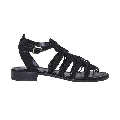Sandali da donna in pelle con frange bata, nero, 563-6442 - 15