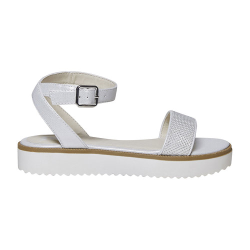 Sandali da ragazza con suola appariscente mini-b, bianco, 361-1194 - 15