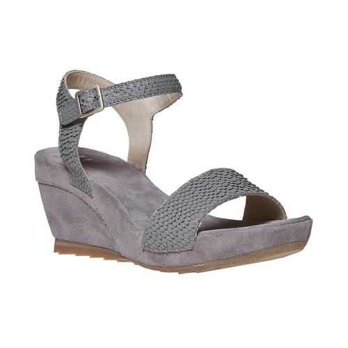 Sandali in pelle da donna con plateau bata, grigio, 764-2597 - 13
