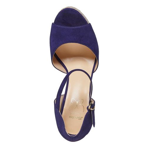 Sandali da donna con plateau naturale insolia, viola, 769-9645 - 19