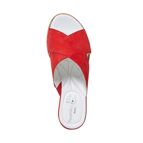 Slip-on in pelle da donna bata-touch-me, rosso, 663-5232 - 19