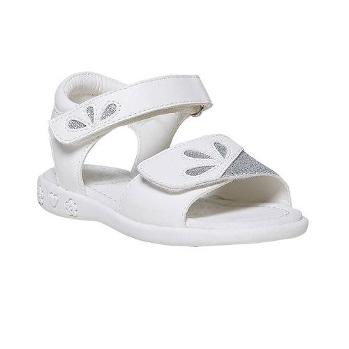 Sandali bianchi da ragazza con glitter mini-b, bianco, 261-1188 - 13