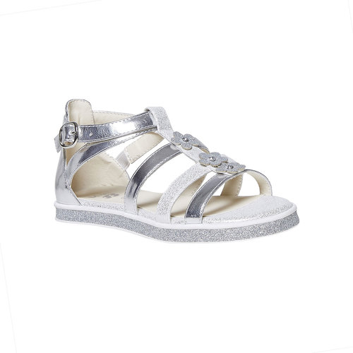 Sandali argentati con applicazioni floreali mini-b, grigio, 361-2203 - 13