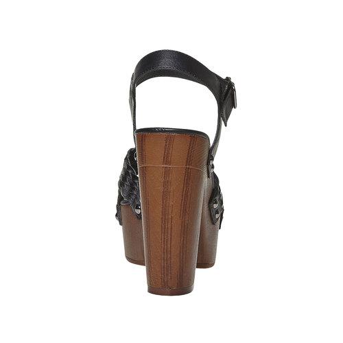 Sandali da donna con intreccio bata, nero, 761-6622 - 17