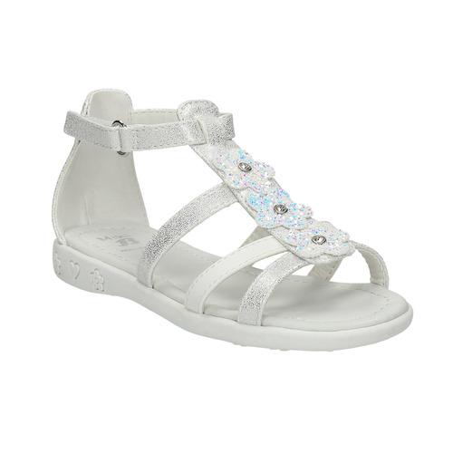 Sandali da ragazza con applicazioni floreali mini-b, bianco, 261-1178 - 13