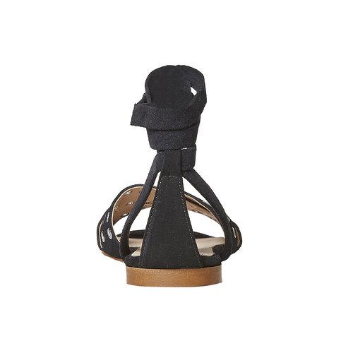 Sandali in pelle da donna con borchie, nero, 563-6495 - 17