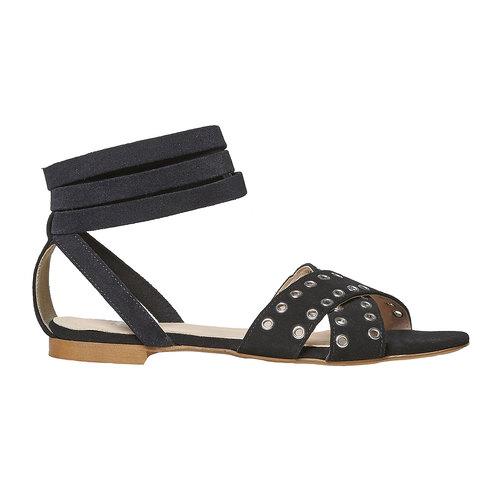 Sandali in pelle da donna con borchie, nero, 563-6495 - 15