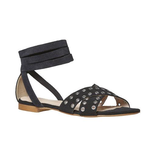 Sandali in pelle da donna con borchie, nero, 563-6495 - 13