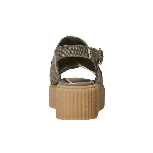 Sandali color cachi con flatform bata, khaki, 669-3276 - 17