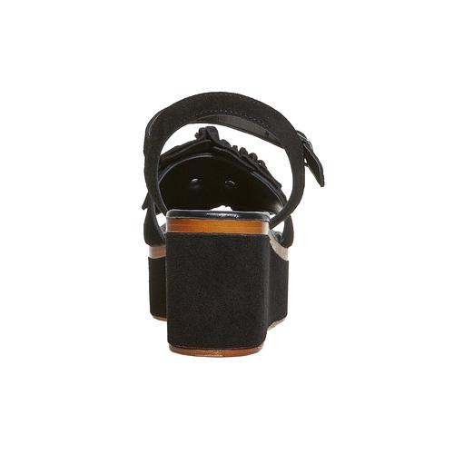 Sandali da donna in pelle con flatform bata, nero, 763-6686 - 17