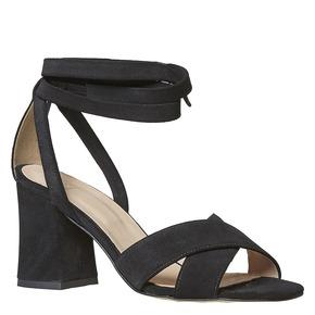 Sandali in pelle da donna con tacco bata, nero, 763-6676 - 13