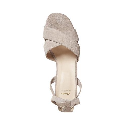 Sandali in pelle color crema bata, beige, 763-8676 - 19