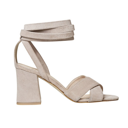 Sandali in pelle color crema bata, beige, 763-8676 - 15