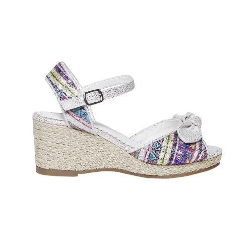 Sandali da ragazza con plateau basso mini-b, bianco, 369-1220 - 15