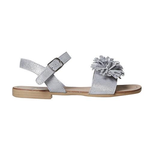 Sandali in pelle da bambina con frange mini-b, bianco, 363-1224 - 15