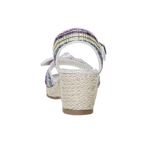 Sandali da ragazza con plateau basso mini-b, bianco, 369-1220 - 17