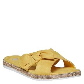 Slip-on gialle da donna con strass bata, giallo, 569-8413 - 13