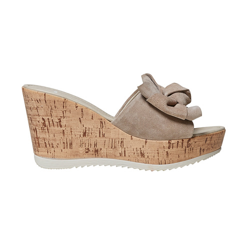 Slip-on da donna in pelle con plateau bata, beige, 763-8234 - 15