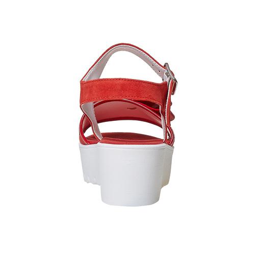 Sandali rossi in pelle con fiocco bata, rosso, 663-5111 - 17
