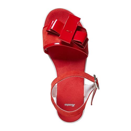 Sandali rossi in pelle con fiocco bata, rosso, 663-5111 - 19