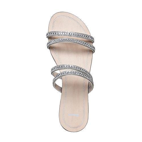 Slip-on da donna con strass bata, bianco, 571-1353 - 19