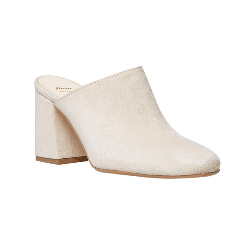 Slip-on in pelle da donna bata, beige, 763-8689 - 13