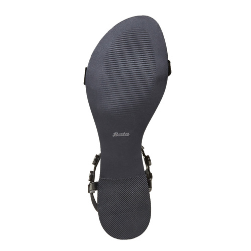 Sandali neri con lacci bata, nero, 561-6496 - 17