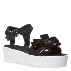 Sandali in pelle con flatform bianca bata, nero, 663-6111 - 13