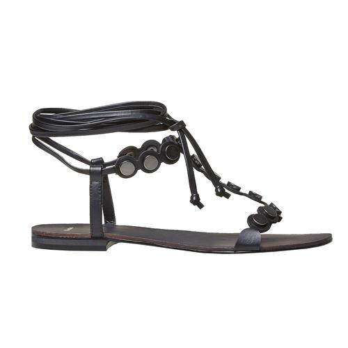 Sandali neri con lacci bata, nero, 561-6496 - 26