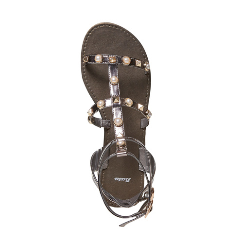 Sandali da donna con borchie bata, bianco, 561-1358 - 19