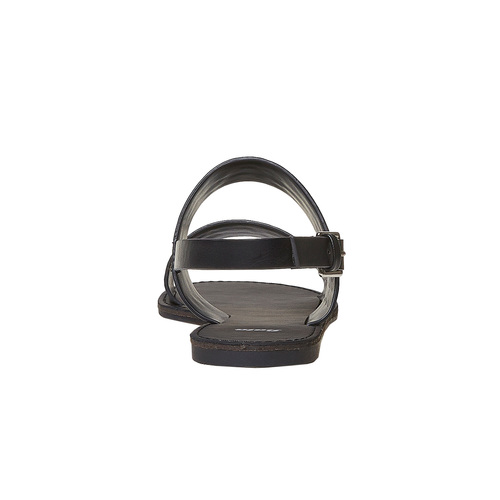 Sandali neri con borchie di metallo bata, nero, 561-6297 - 17