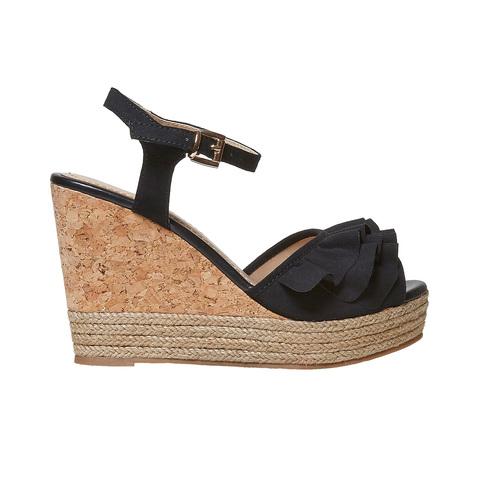 Sandali da donna con plateau naturale bata, nero, 769-6211 - 15
