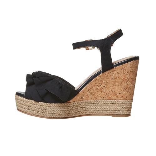 Sandali da donna con plateau naturale bata, nero, 769-6211 - 26