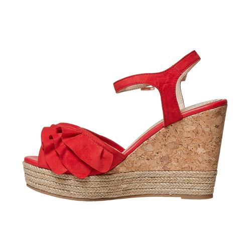 Sandali rossi da donna con balze bata, rosso, 769-5211 - 26