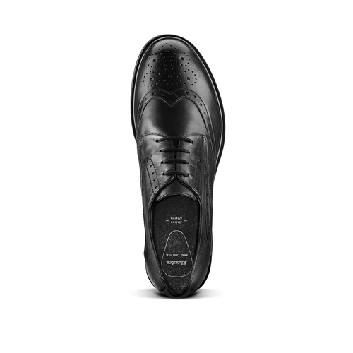 Derby in pelle con trafori Brogue bata, nero, 524-6648 - 17