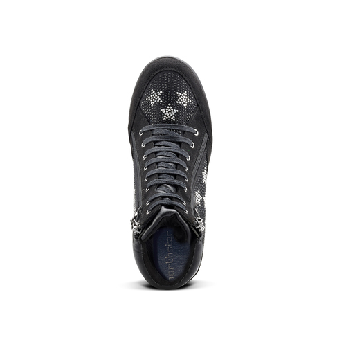 Sneakers con zeppa e strass north-star, nero, 729-6970 - 15