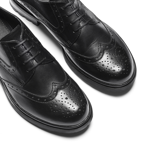 Derby in pelle con trafori Brogue bata, nero, 524-6648 - 26