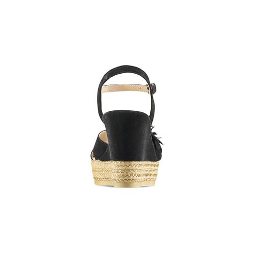 Espadrillas con zeppa bata, nero, 763-6110 - 16