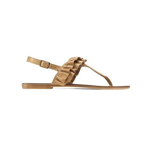 Sandali in pelle con rouches bata, marrone, 564-3118 - 26