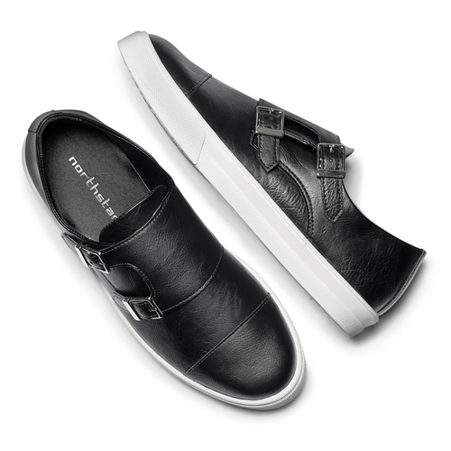 Slip-on nere con fibbie north-star, nero, 831-6110 - 19
