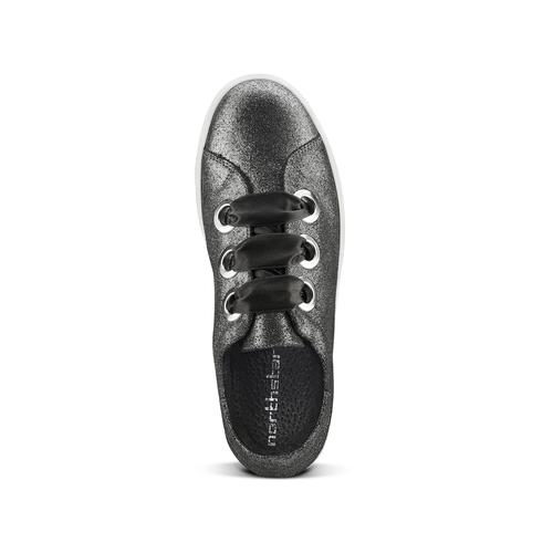 Sneakers metallizzate con lacci in raso north-star, bianco, 543-1359 - 15