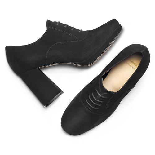 Francesine in suede nera con tacco largo bata, nero, 723-6951 - 19