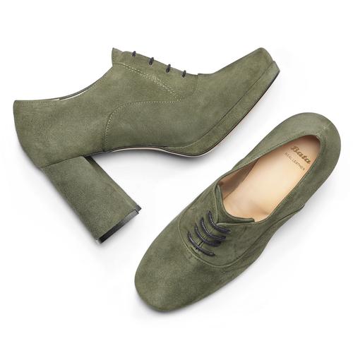 Francesine in pelle color verde militare con tacco largo bata, verde, 723-7951 - 19